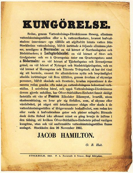 1861 Announcement by Jakob Hamilton